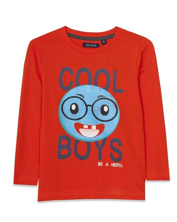 Оранжева блуза с щампа за момче Blue Seven