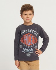 Сива блуза с щампа за момче ZIPPY