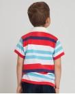 Блуза с яка в светло синьо и червено ZIPPY