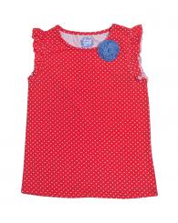 Червена блуза на точки с цвете ZIPPY