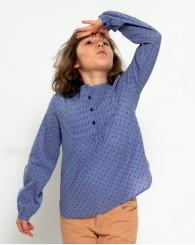 Синя риза с цветя за момиче ZIPPY
