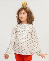 Бяла риза с цветя за момиче ZIPPY