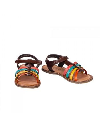 ZIPPY Кожени сандали с цветни каишки