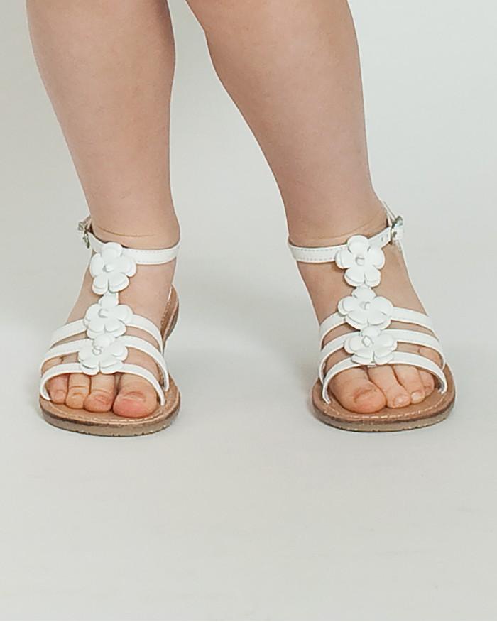 dfdbe907314 ZIPPY Бели кожени сандали с цветя